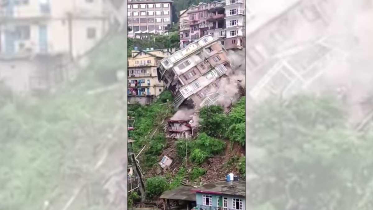 #VIDEO Se derrumba edificio de 7 pisos en la India tras fuertes lluvias