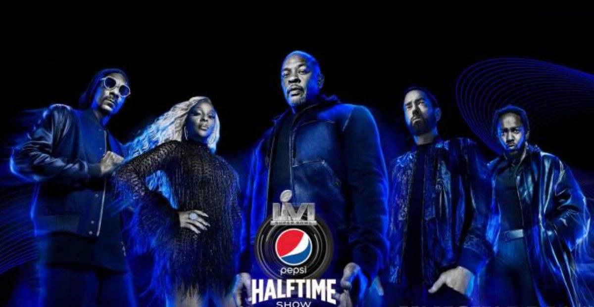 Eminem, Kendrick Lamar, Dr. Dre, Snoop Dogg y Mary J. Blige, en el medio tiempo del Super Bowl LVI