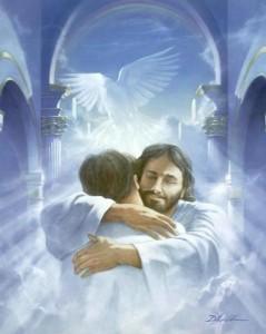Jesús abrazando, cielo, nube, angeles
