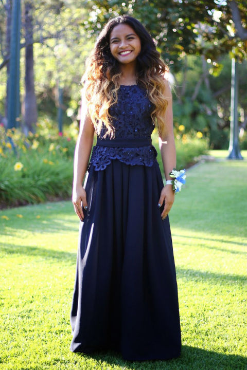 """Ysabel designed her prom dress in only a week! """"I learned how to use a sewing machine from my dad, and other than that I am purely self taught from trial and error,"""" she told Seventeen.com. """"I have been sewing since the 8th grade and fell in love with it ever since."""""""