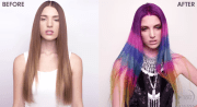 color-blocked hair