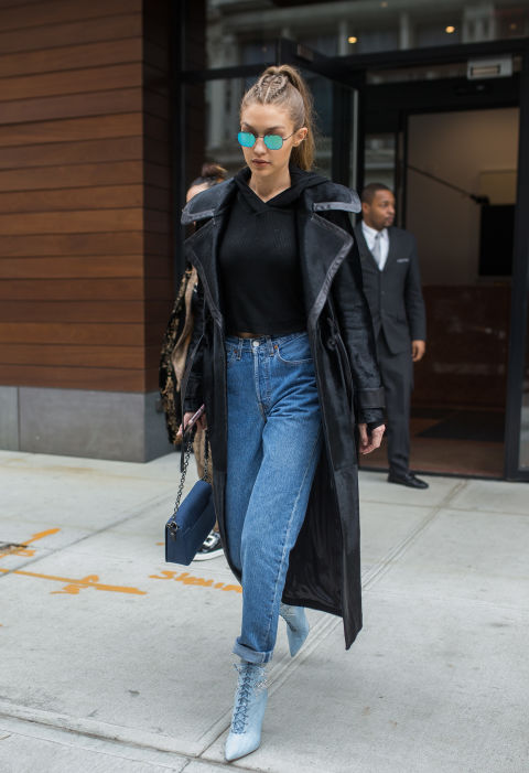 Gigi's fav outfit recipe: cropped sweatshirt, cool duster, mom jeans, and metallic sunnies. Add accessories when needed.