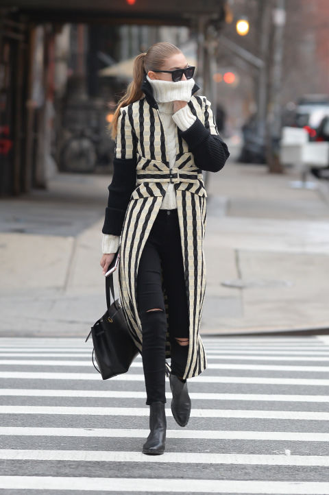 All-over stripes are an easy way to spiced up ablack/white/gray wardrobe. The look is classic, buttotally non-boring.