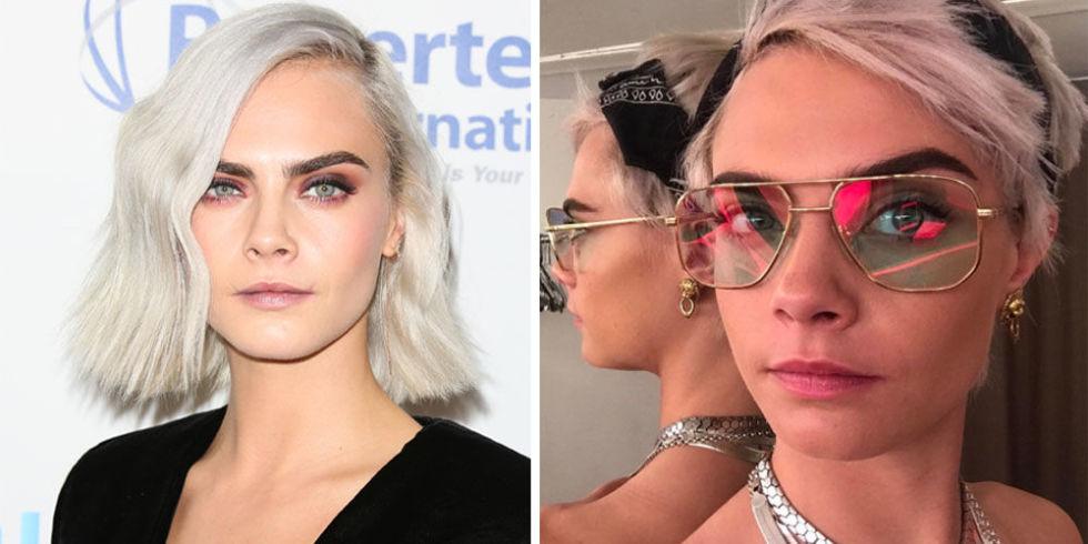 Before she shaves her head for her new movie,Life In a Year,Cara's getting in as many hairstyles as she can. She debuted achoppy pink pixie cut on Instagram, only one month after getting her white blonde bob.