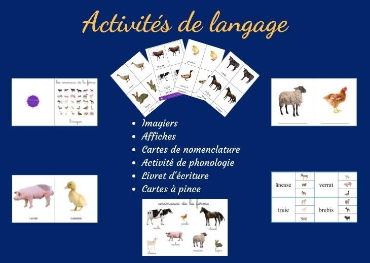 activités montessori langage #ferme