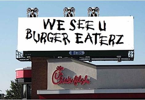 Креативная реклама. Eat more chicken cows. We see u burger eaterz