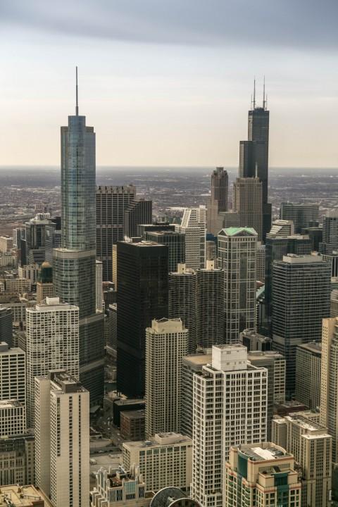 Достопримечательности Чикаго. Вид на город Чикаго. Достопримечательности. Вид на город со смотровой площадки Центра Джона Хэнкока