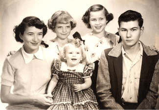 Clemens siblings, Sonora, California, 1950 Carleen, Claudia, Cathy in middle, Betty, Larry