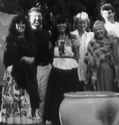 Moon Valley School reunion, mid 1980s: Audrey, Charlie, Moona, Catherine, Barbara, Matt
