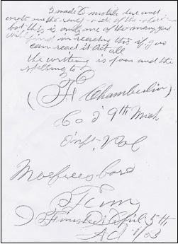 F Chamberlin Civil War letter