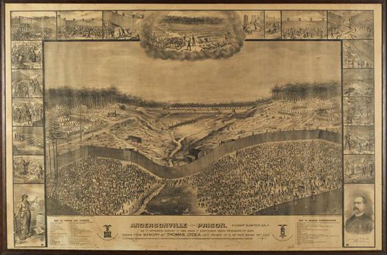 Thomas O'Dea Lithograph of Andersonville Prison