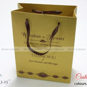Golden paper wedding gift bag