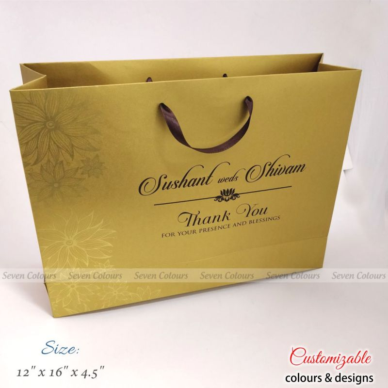 Large wedding gift bags in golden and brown