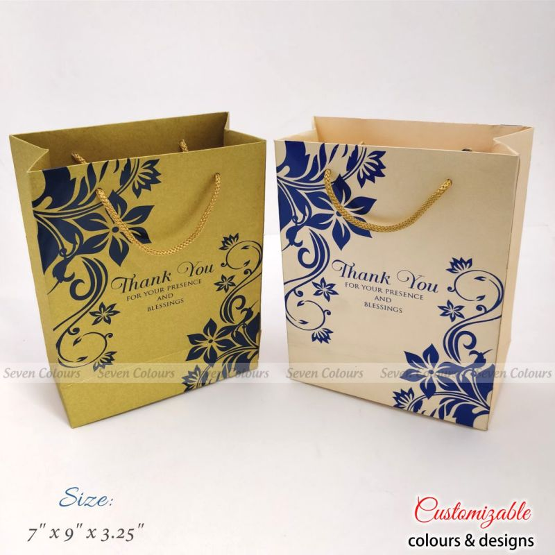 Cream and Gold Floral theme wedding gift bags
