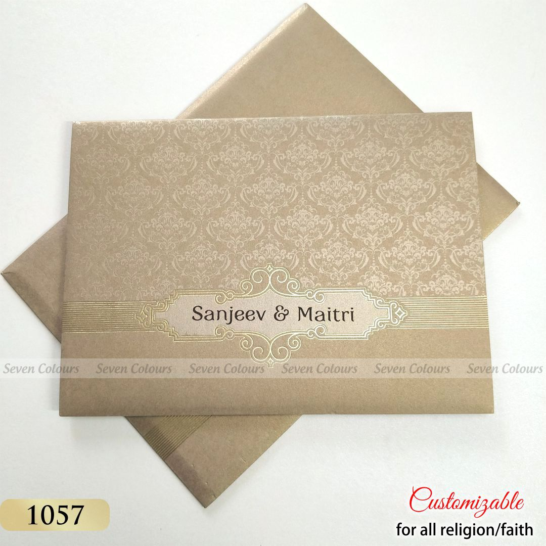 Sikh Wedding Card in Grey Gold