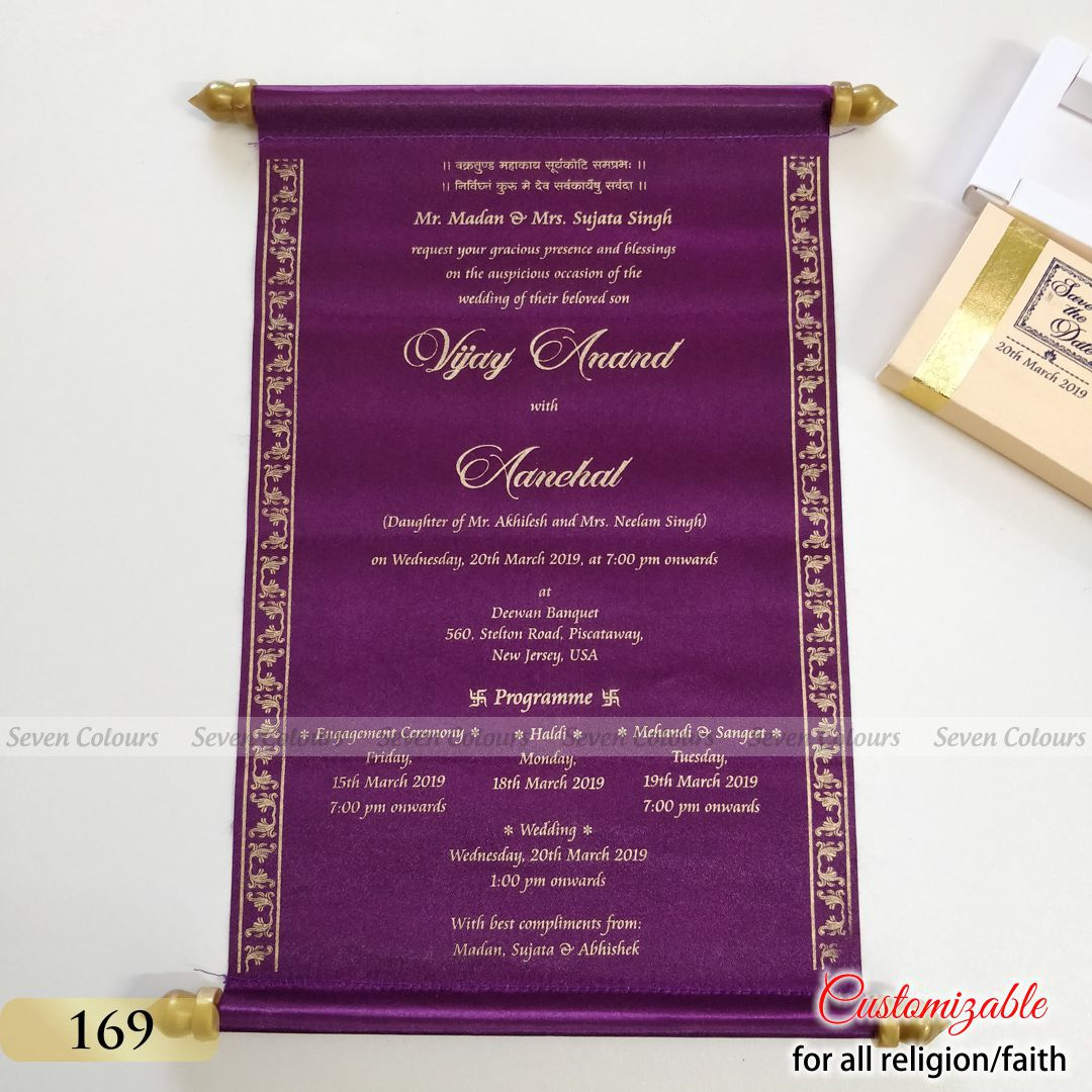 scroll invitation cards for wedding shaadi marriage