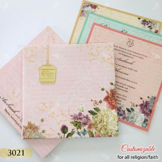box style invitation in flower theme pink colour