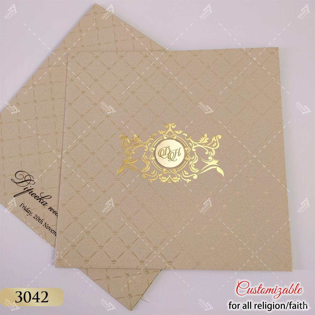 Very Elegant wedding card in pastel colours