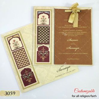 vintage laser cut indian wedding invitation Jaali cut work