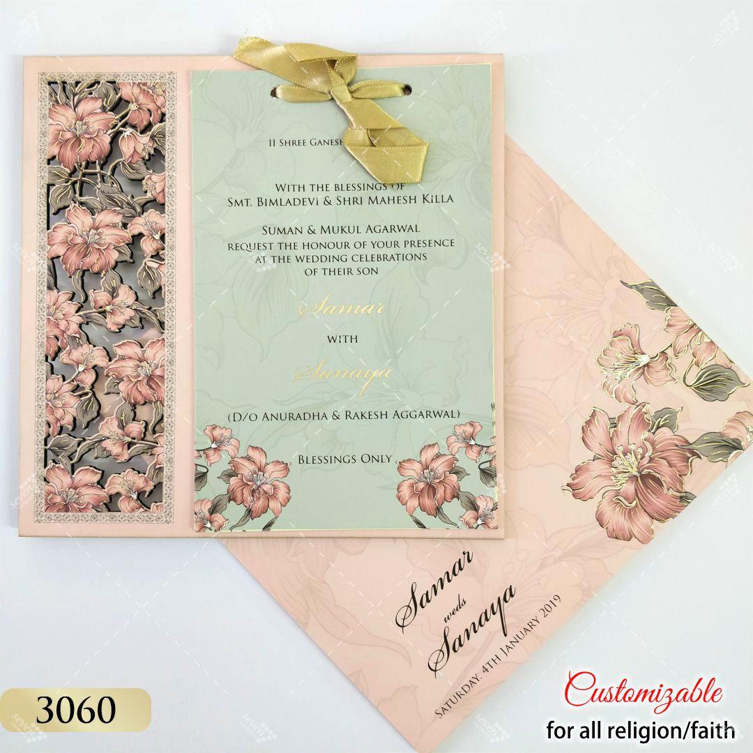 Pink floral laser cut mdf wedding card