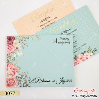 sky blue floral top selling design hardcover invitation