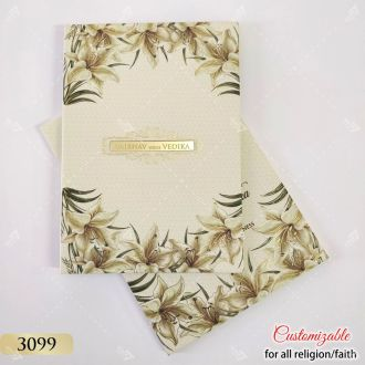 hardcover beige floral themed wedding card