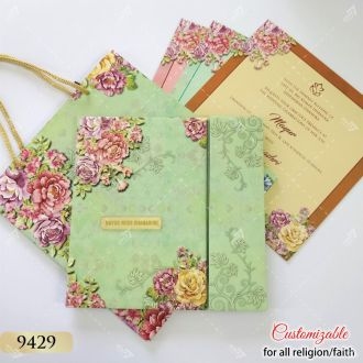 invitation with bag floral pattern and door style opening
