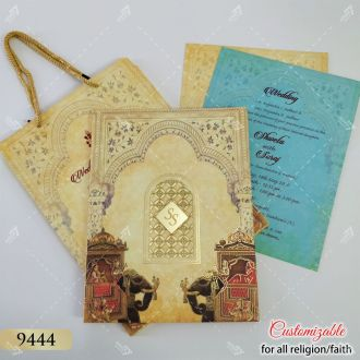 indian elephant wedding card in carry bag style