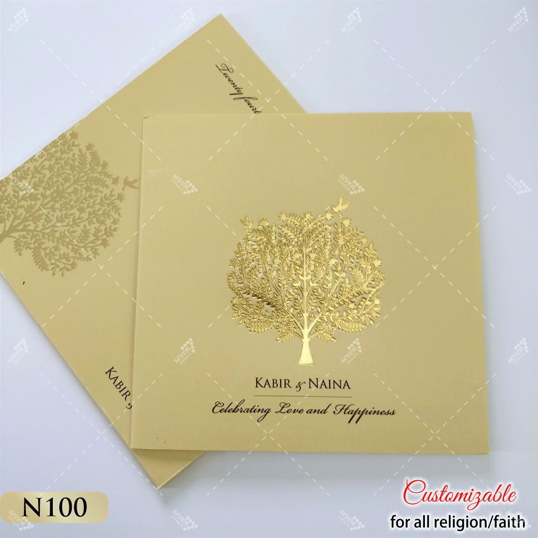 gold love birds indian tree design for wedding cards