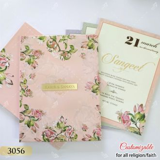 Pink floral theme premium quality wedding invitation by seven colours card