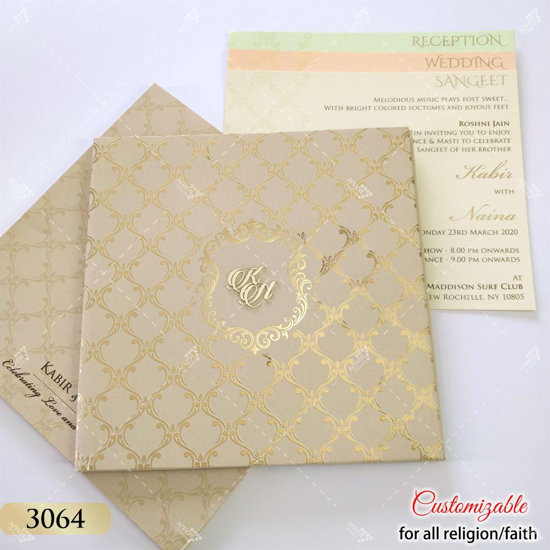 Mud Gold Grey Pastel Colour wedding invitation