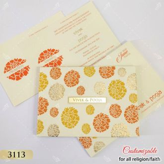 marigold orange and yellow theme wedding invitation