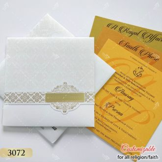 white christian wedding invitation with gold acrylic name label