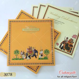 Haldi yellow colour indian wedding card in royal elephant theme - premium hardcover design