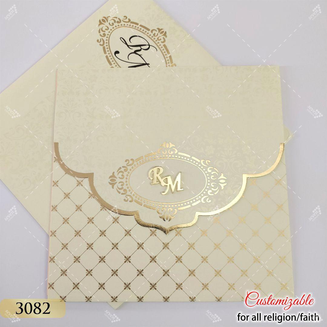 Cream Ivory Pastel colours wedding card