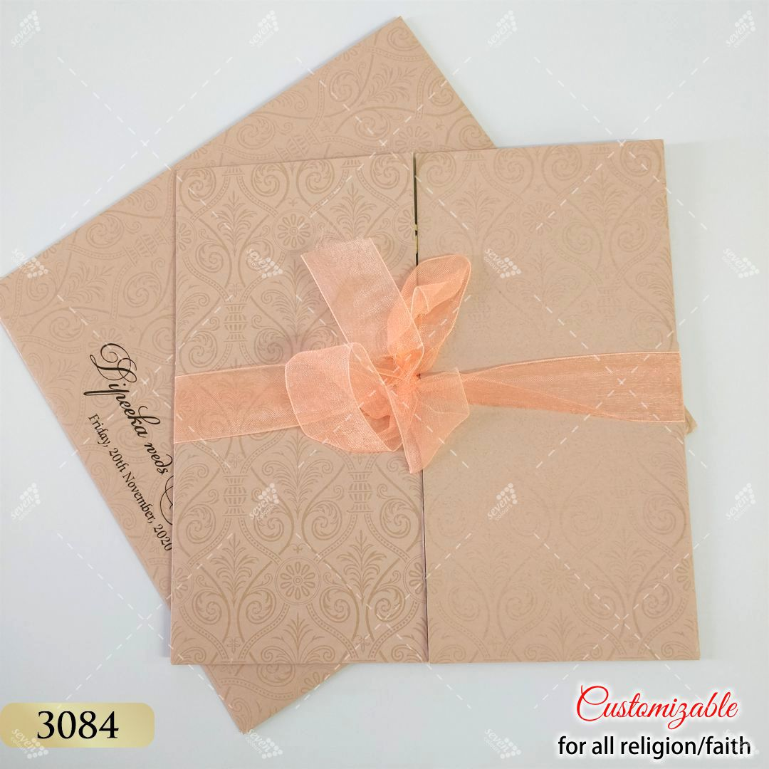 peach ribbon wedding cards in pastel colours
