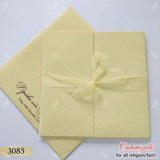 Cream ribbon wedding card in pastel colours