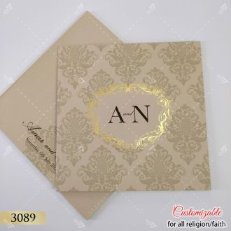 premium nude pastel finish damask pattern indian wedding card with gold foil design and couple logo
