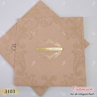 peach pink pastel wedding invitation at best price