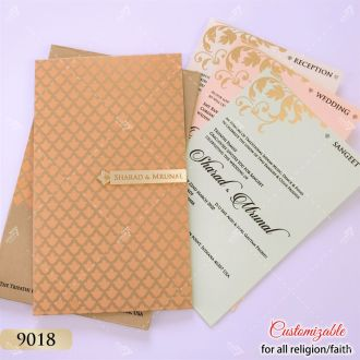 peach and gold indian pattern book style pastel colour card