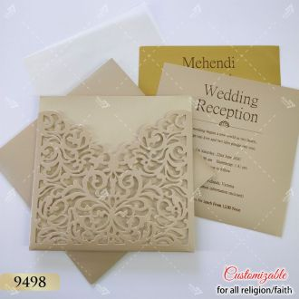 low cost laser cut wedding card - nude brown colour