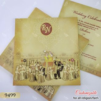 hardcover elephant theme indian baraat procession theme card