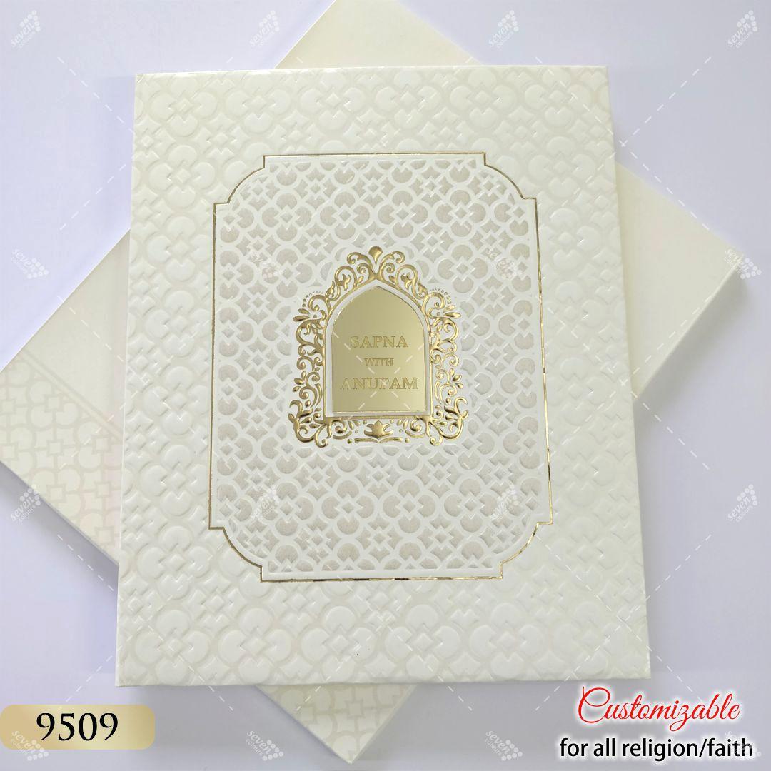 white hardcover wedding cards online