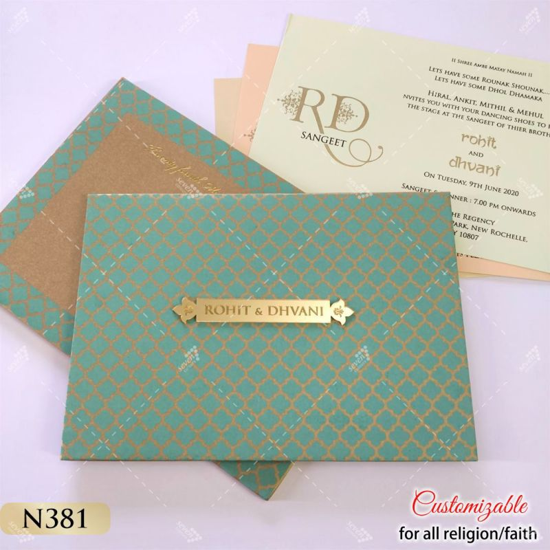 seas green designer printed hardcover padded wedding card