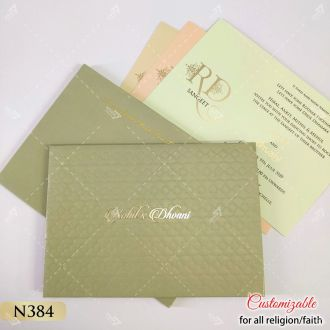 green gold designer wedding cards in pastel colour inserts