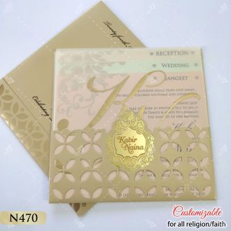 Pocket style wedding card with vellum paper and pastel inserts