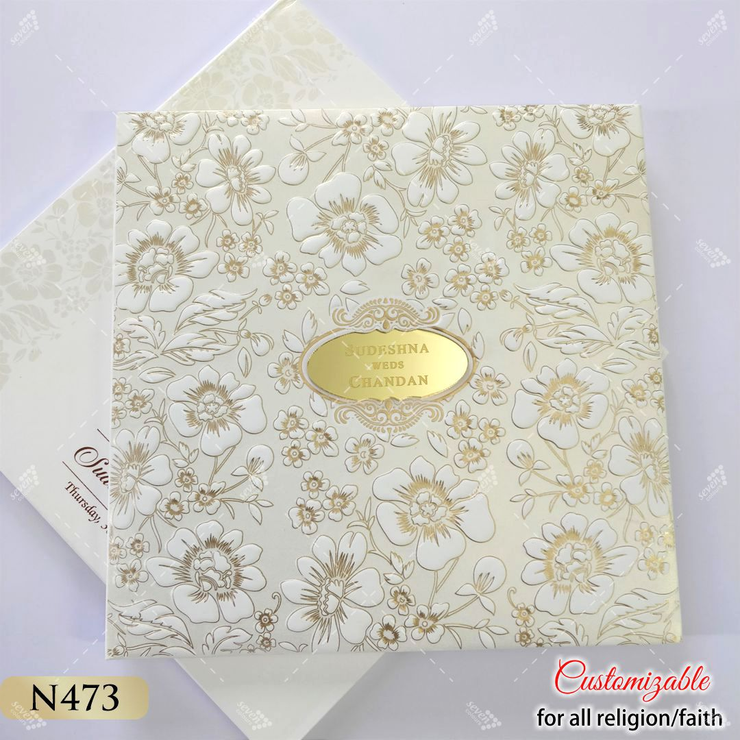 top quality white and gold hardcover invitation for Royal Punjabi Wedding