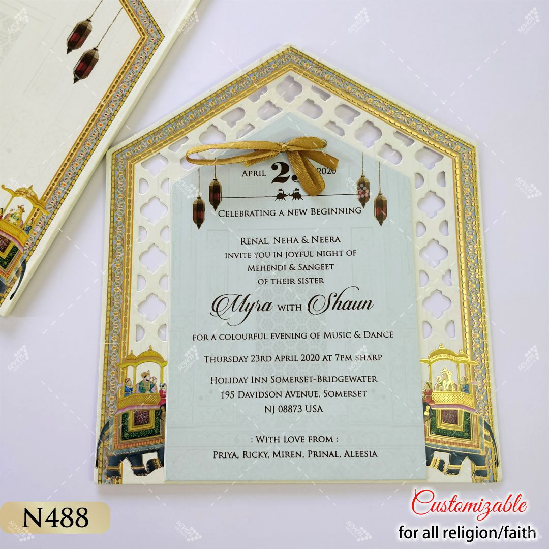Indian Architect style lasercut elephant wedding card