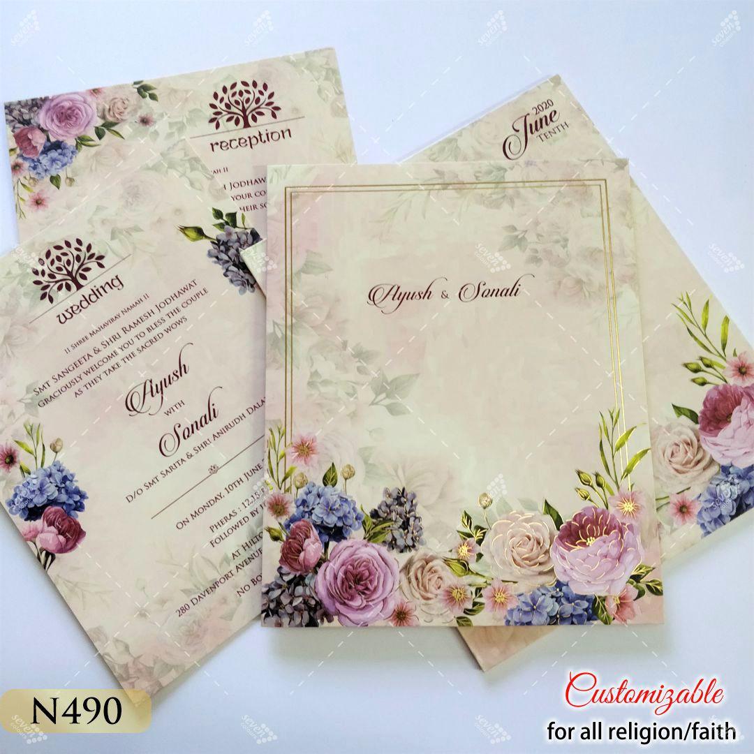 Pastel colour floral theme wedding card