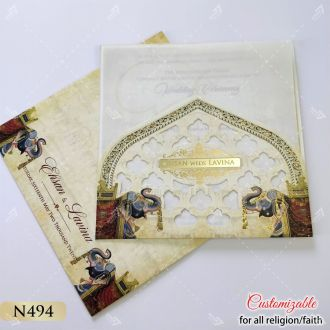 pocket style wedding card holder for inserts with elephant design on sides